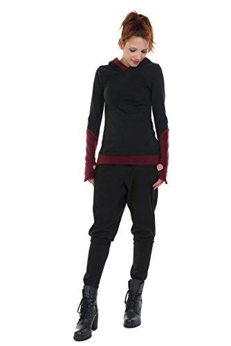 3Elfen DREI Elfen Damen Kapuzenshirt Gothic Hoodie Pullover Winter Bekleidung schwarz weinrot Fleece L
