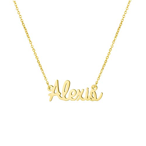 Yiyang Birthday Gift for Girls Personalized Name Necklace 18K Gold Plated Stainless Steel Jewelry Alexis