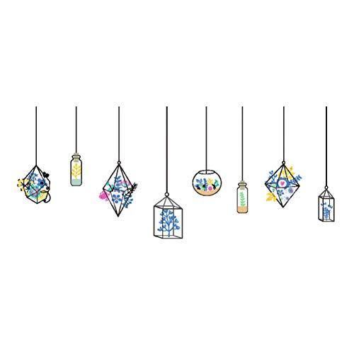 Kristall Pflanzen Anhänger Blume Wandaufkleber Mädchen Zimmer Wohnkultur selbstklebende DIY Kunst Aufkleber Restaurant Vitrine Dekor