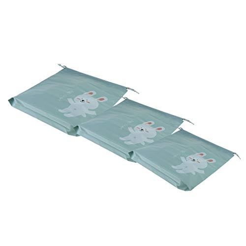 Sharplace 3Pcs S/M/L Sac de Voyage Portable avec Cordon de Serrage Pochette de Rangement étanche - vert