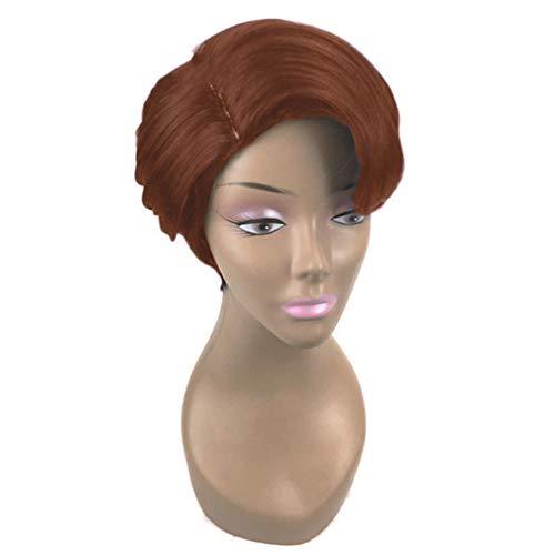 Unknow FEITeng Courte Perruque Coupe Pixie, Faux Cheveux raides Noirs avec Partie latérale Bang pour Les Femmes,Marron