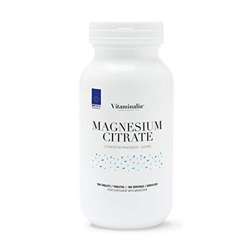 Citrato de Magnesio 200mg de Vitaminalia   Dosis Alta de Magnesio Puro   Aumenta Testosterona, Reduce Cansancio y Estrés, Mejora los Huesos y Músculos   Sin Gluten, Sin Lactosa, 180 tabletas