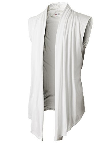 H2H Men's Shawl Collar Sleeveless Cardigan with No Button White US 3XL/Asia 4XL (KMOCASL01)