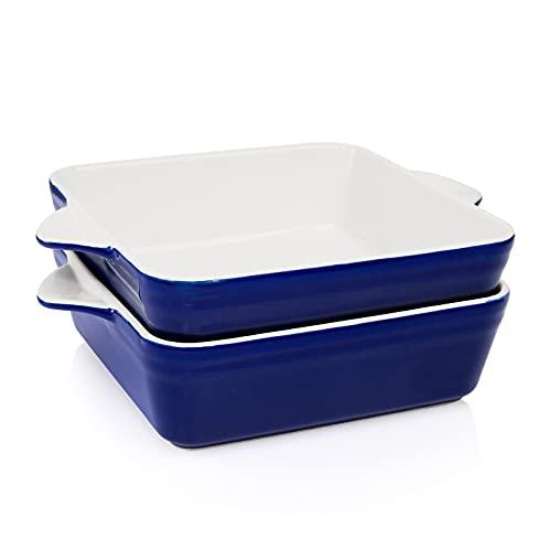 AVLA 2 Pack Porcelain Square Baking Pan, 62 OZ Deep Baking Dish Lasagna Pan for Kitchen, Oven Safe Casserole Ceramic Bakeware Set with Handle (Royal Blue)