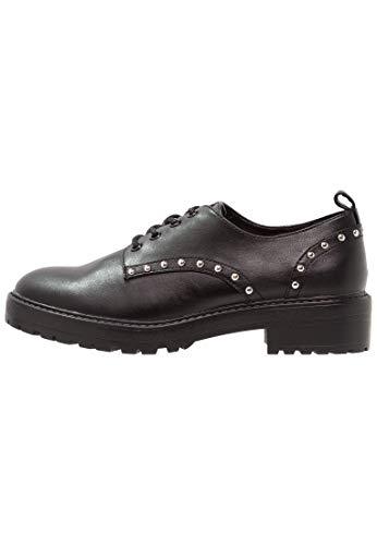 Even&Odd Zapatos de Cordones para Mujer - Zapatos Derby con Estilo Roquero, Negro, Talla 38