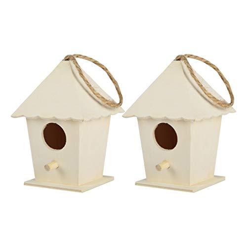 2 Stück Vogelhaus Nistkasten, Hängend Vogel Haus Vogelhäuschen, Naturholz Bird House Nest Box, Wetterfest Nisthaus Nisthilfe für Meise Rotkehlchen Gartenrotschwanz und Andere Wildvögel (Mehrfarbig)