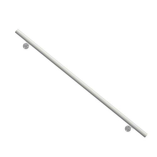 Moderner Aluminium-Handlauf in Weiß. Hochwertiges Komplett-Set. Länge 1500 mm (kürz- und verlängerbar). Set komplett mit Wandhaltern, Dübeln und Schrauben. Aluminium-Handlauf für Innen und Außen geeignet.