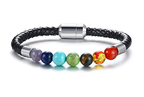 VNOX Edelstahl echtes geflochtenes Leder Armband Nagel Manschette Armband Armreif für Männer Gold,22cm