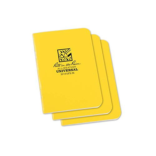 Rite in the Rain - Mini blocco appunti, impermeabile, unisex, con rilegatura a graffetta, disponibile in giallo, misura 4-5/8 x 17,8 cm