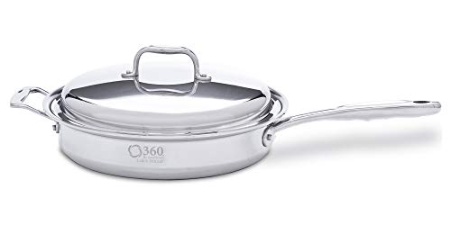 """360 Stainless Steel Saute Pan with Lid, 12"""" Skillet, Handcrafted in the USA, Induction Cookware, Waterless Cookware, Dishwasher Safe, Oven Safe, Surgical Grade Stainless Steel Cookware (3.5 Quart)"""