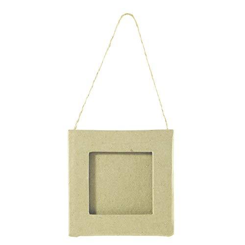 Décopatch CD691O Rahmen zum Aufhängen (aus Pappmaché zum Verzieren und Personalisieren, quadratisch, 8 x 8cm, geeignet für Ihre Bilder 5,5 x 5,5 cm) 1 Stück kartonbraun
