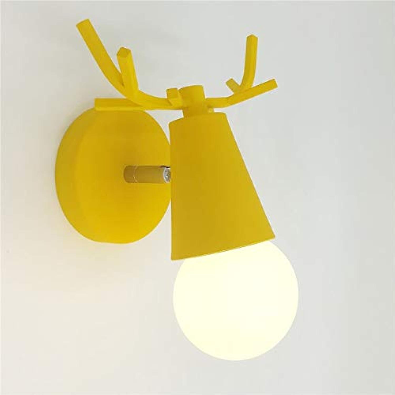 Moderne Neuheit bunte Wandleuchte LED Holz Metall Nordic Innenbeleuchtung Wohnzimmer Flur Shop Leuchte AC110-265V, A gelb