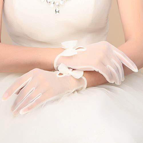 XKJFZ Mode-Bogen Brauthandschuhe Tüll Fest Farbe Finger-Handschuhe Braut Hochzeit Handschuhe Zubehör Short Weiß für Frauen/Bride