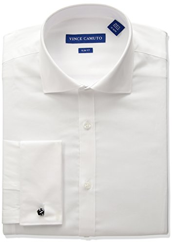 Vince Camuto Men's Slim Fit Spread Comfort Collar Dress Shirt, White, 17 34/35