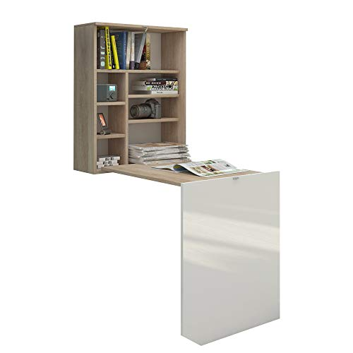 Selsey Table, Bois, Chêne Sonoma Mat/Blanc Brillant, 60 x 71 x 75 cm