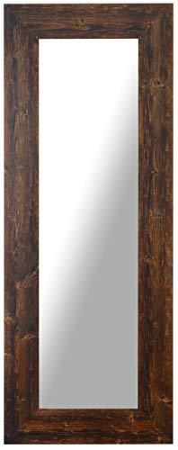 Espejo Rectangular De Pared con Marco de Madera Abeto Acabado Nogal Oscura wengué Natural cm. 57x147. Fabricado en Italia. Hecho A Mano