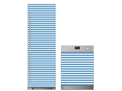 Oedim Pack Vinilo para Frigorífico + Vinilo para Lavavajillas Rayas Azul Claro, Adhesivo Resistente y Económico, Pegatina Adhesiva Decorativa de Diseño Elegante