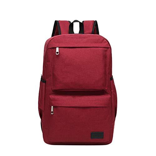 Laptop Rucksack Damen Herren, VECOLE Unisex Backpack 2019 Canvas Rucksack Große Kapazität Schultasche Campus Studententasche Outdoor Reiserucksack(Wein)