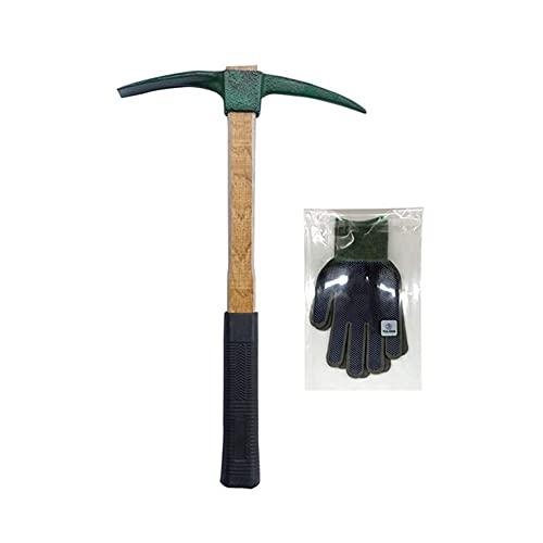 TULGIGS - Zappetta portatile resistente con impugnatura ammortizzante e guanti da lavoro, misura M, piccone