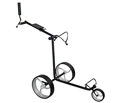 tour-made RT-210S Edelstahl 3rad Push Golftrolley - Black Edition - Räder schwarz