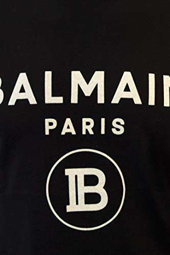 Balmain Herren T-Shirt Luxury Schwarz Logo Samt Weiß Sommer 2020, Schwarz Small