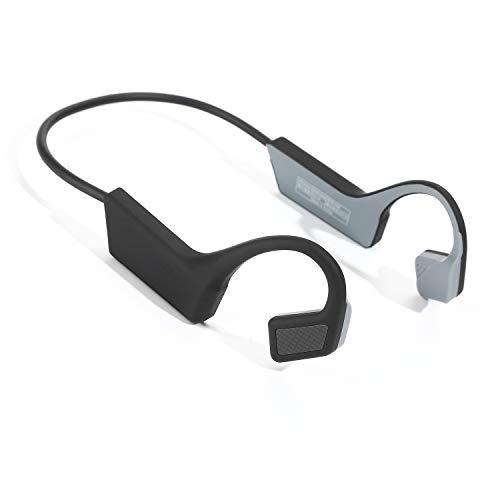 骨伝導ヘッドフォンBluetooth 5.0 Open-Earワイヤレススポーツヘッドセット/サイクリングランニングドライビングジム用マイク (ブラック)