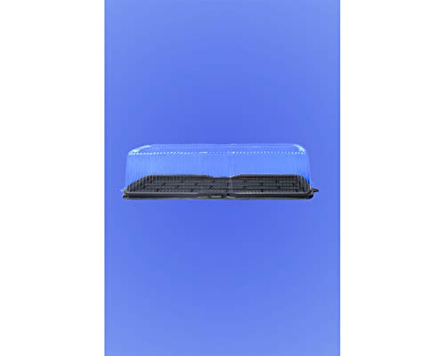 "Wow Plastics Inc. Log Cake/Deli Container - 19.5"" X 7"" Long Rectangular Black Base - 4.25"" Tall - 100/Case"
