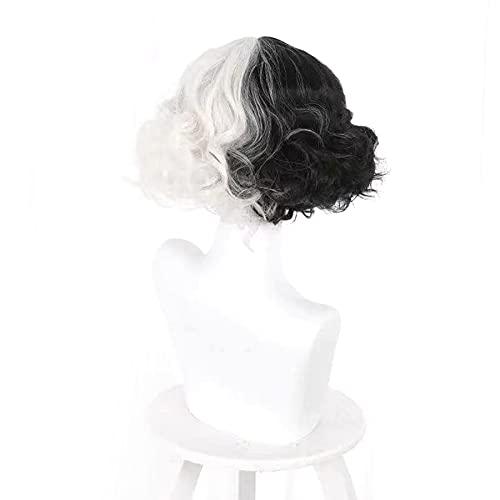 MFXI Pelucas para Mujer Black White Wig Linda Peluca de Pelo Plateada Colorida con Pelucas Peluca cómoda para Cosplay Party Halloween