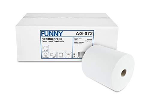 Funny Handtuchrolle mit Spezialkern, für Markenfreie Spendersysteme, 2 lagig hochweiß, 20 cm, ca 130 m, 4er Kern, 1er Pack (1 x 6 Stück)