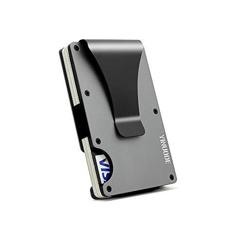 Minimalist Aluminum Fibre Slim Wallet, Slim Wallet & RFID Blocking Front Pocket Wallet Sliver-Gray