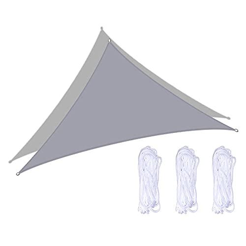 AMSXNOO Vela De Sombra, 98% Anti-UV Impermeable a Prueba De Viento Vela Toldo, Triangular Vela De Sombra por Exterior Invernadero Patio Interior Kiosko (Color : Gray, Size : 2X2X2M)