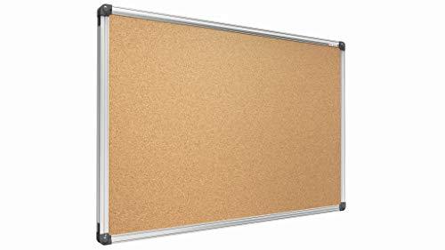 ALLboards Lavagna in Sughero con Cornice in Alluminio 90x60cm, Bacheca Sughero per Puntine Spille Alluminio Anodizzato Memoboard