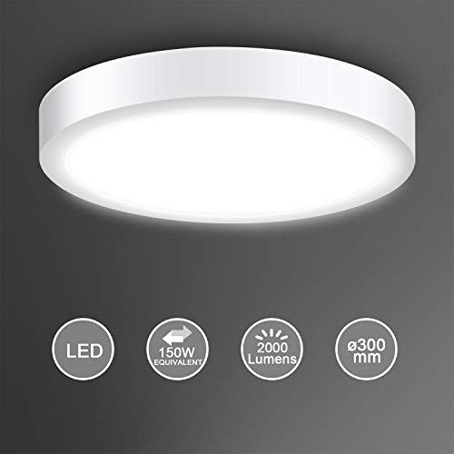 Creyer LED Deckenleuchte, LED Panel Deckenlampe 24W ersetzt 150W Glühbirne, ø30cm, 2000lm, Kaltweiß(6000K), Rund/Metall Rahmen, Ideal für Schlafzimmer Küche Wohnzimmer, Nicht Dimmbar, AC 220-240V