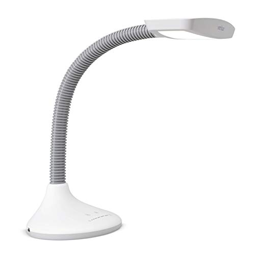 Verilux SmartLight Full Spectrum LED Desk Lamp with Adjustable Brightness, Flexible Gooseneck and Integrated USB Charging Port - Reduces Eye Strain and Fatigue - Ideal for Readers, Artists, Crafters
