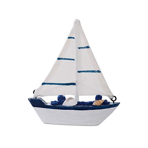VOSAREA Modellschiff Mediterraner Stil Segelschiff Desktop Holz Handwerk Ornamente Dekoration 2 Stücke (Segeltuch)