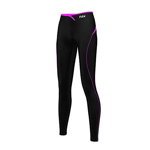 FDX Damen-Sporthose, Super-Thermo Basisschicht, Kompressions-Leggings, Fitness, Lauf-Tights Small schwarz / rosa