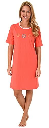 NORMANN-Wäschefabrik Damen Nachthemd Kurzarm mit sommerlichem Blumen/Mandala Design - 60872, Farbe:rot, Größe:36/38