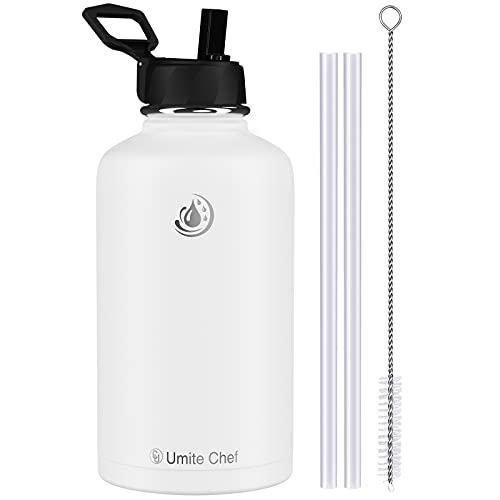 Umite Chef Sports Water Bottle with New Wide Handle Straw Lid, Vacuum Insulated Stainless Steel Thermo Mug, 32 oz Double Walled Wide Mouth Water Bottle,Leak Proof, Sweat Free (White)