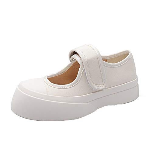 Zapatos de Plataforma para Mujer Ocio Gancho Loop Suela Gruesa Usable Mary Jane Boca Baja Creepers Zapatos Street Walking