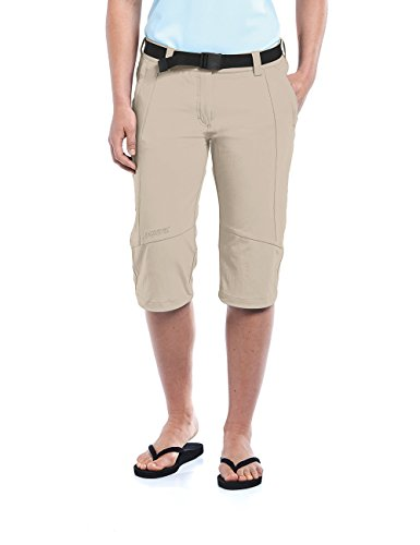 Maier Sports Multifonctions Capri kluane 90% en PA 10% EL dans 19 Tailles, Pantalon Outdoor/Pantalon de randonnée/Capri Pantalon avec Ceinture, bi-élastique, séchage Rapide et imperméable M Beige