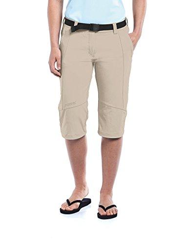 Maier Sports Multifonctions Capri kluane 90% en PA 10% EL dans 19 Tailles, Pantalon Outdoor/Pantalon de randonnée/Capri Pantalon avec Ceinture, bi-élastique, séchage Rapide et imperméable S Beige