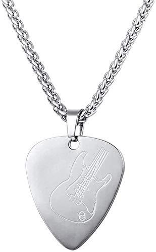 LBBYMX Co.,ltd Collar de Moda de Acero Inoxidable con púa de Guitarra, Colgante, Regalo de Amante de la música para Guitarrista