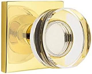Passage Set, Modern Square Rosette, Modern Disc Crystal Knob, Unlacquered Brass