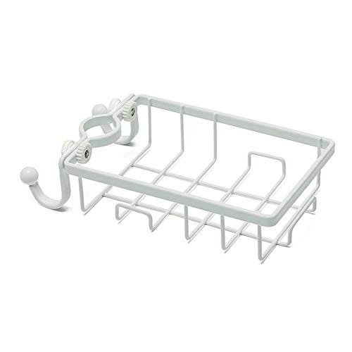 Lpiotyuzwj Estanteria Baño Accesorios para el hogar Fregadero de Hierro Punch Punch Punch Grifo Almacenamiento Baño Cocina Drenaje Almacenamiento Rack Organizador con 2 Gancho (Color : White)