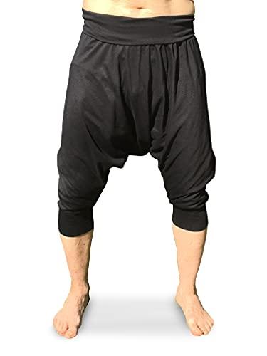 Pantalones Harem Piratas Cortos Verano Negros Lisos Cagados Yoga Comodos Algodon Unisex (Negro, XL)