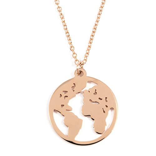 Happiness Boutique Collana Mappa del Mondo Oro Rosa | Delicata Collana Pendente Circolare Bijoux Acciaio Inossidabile