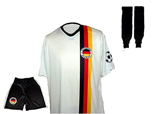 Spielfussballshop Deutschland Trikot Hero + Hose + Stutzen mit Wunschname + Nummer Kinder Grö…