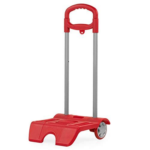 SKPAT - Trolley porta zaino di scuola. ALtura regolabile. Ruote PVC. Adattabile a qualsiasi zaino. Molto leggero e robusto. Maniglia telescopica 1015, Color Rosso