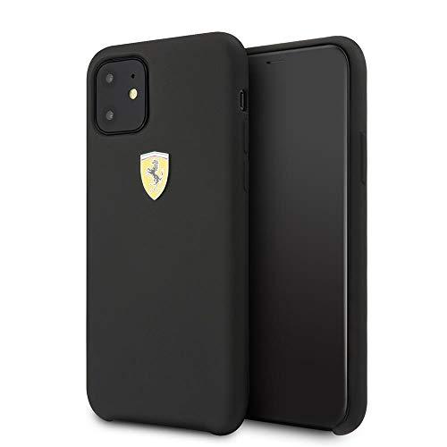 CG Mobile Ferrari - Cover rigida in silicone per iPhone 11, con interno in morbida microfibra, colore: Nero