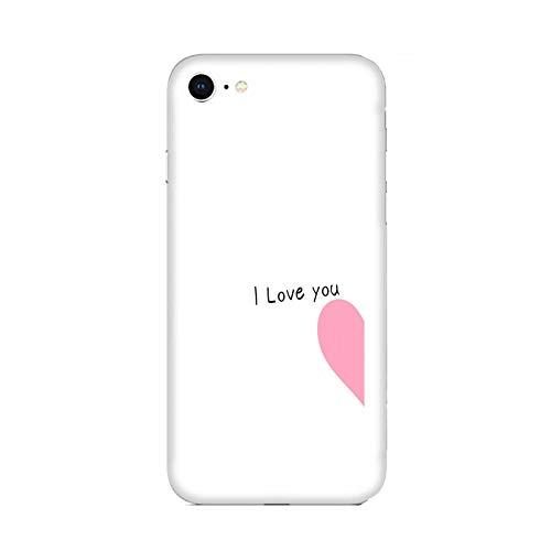 Cover iPhone 7 Custodia Compatibile per Apple iPhone 7 Coppia Amanti Fidanzato Fidanzata Amore I Love You metà Cuore Rosa/Gel in Silicone Morbido TPU/Telefono Hard Snap on Antiscivolo Antiscivolo